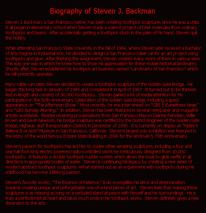 Biography of Steven J. Backman